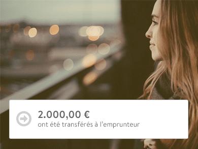 2.000,00 € ont été transférés à l'emprunteur