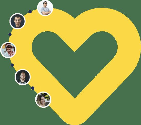 Photos de membres de la communauté mozzeno sur une icône de coeur