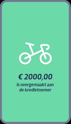 €2000 is overgemaakt aan de kredietnemer